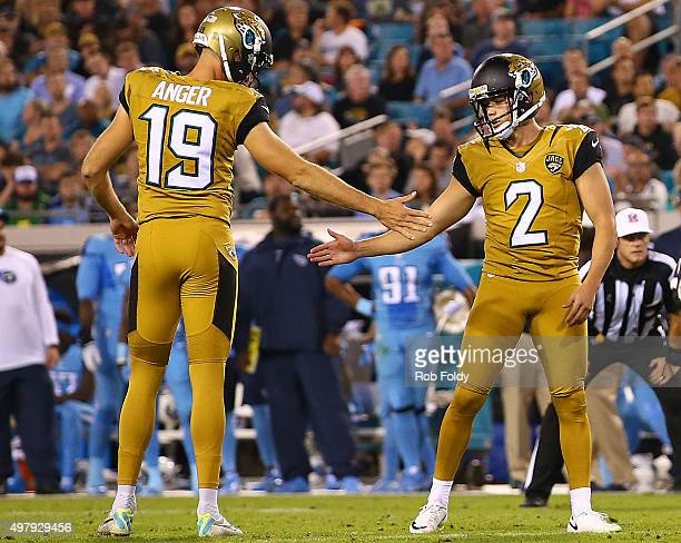 Jason Myers celebrates with Bryan Anger of the Jacksonville Jaguars after kicking a field goal during the second quarter of the game against the...