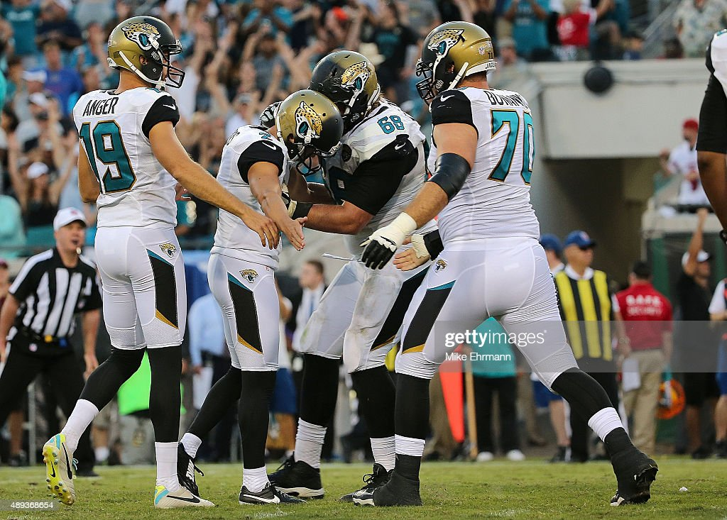 Jason Myers #2 of the Jacksonville Jaguars is congratulated after kicking the game winning field goal during a game against the Miami Dolphins at EverBank Field on September 20, 2015 in Jacksonville, Florida.