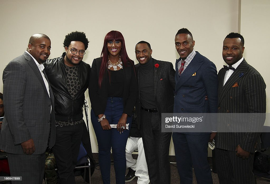 Jason Nelson, Jawn Murray, Coko, Jonathan Nelson, Ted Winn, and VaShawn Mitchell pose backstage at The First Cathedral following a live recording of JJ Hairston & Youthful Praise's seventh album 'I See Victory' on November 4, 2013 in Bloomfield, Connecticut.