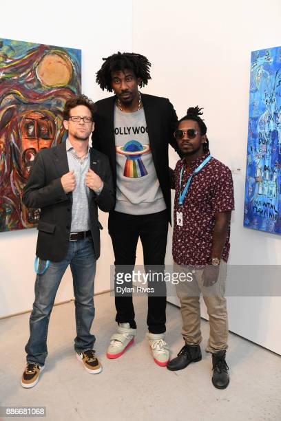 Jason Newsted Amar'e Stoudemire and Edwin Baker III attend the Art Miami CONTEXT 2017 at Art Miami Pavilion on December 5 2017 in Miami Florida