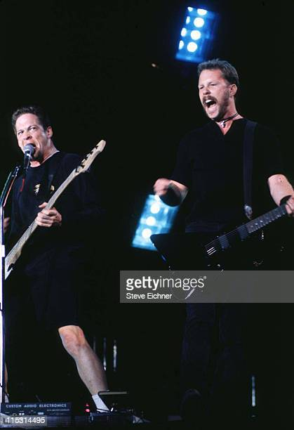 Jason Newsted and James Hetfield of Metallica during Lollapalooza 1996 at Downing Stadium Randall's Island in New York City at Downing Stadium...