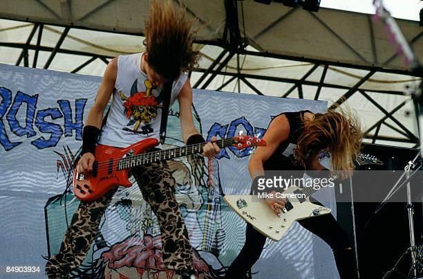 Jason NEWSTED and James HETFIELD of METALLICA perform onstage during MONSTERS OF ROCK festival at Castle Donington in Donington UK on August 22 1987