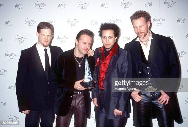 Jason Newsted Lars Ulrich Kirk Hammett and James Hetfield of Metallica winners of two American Music Awards 1996