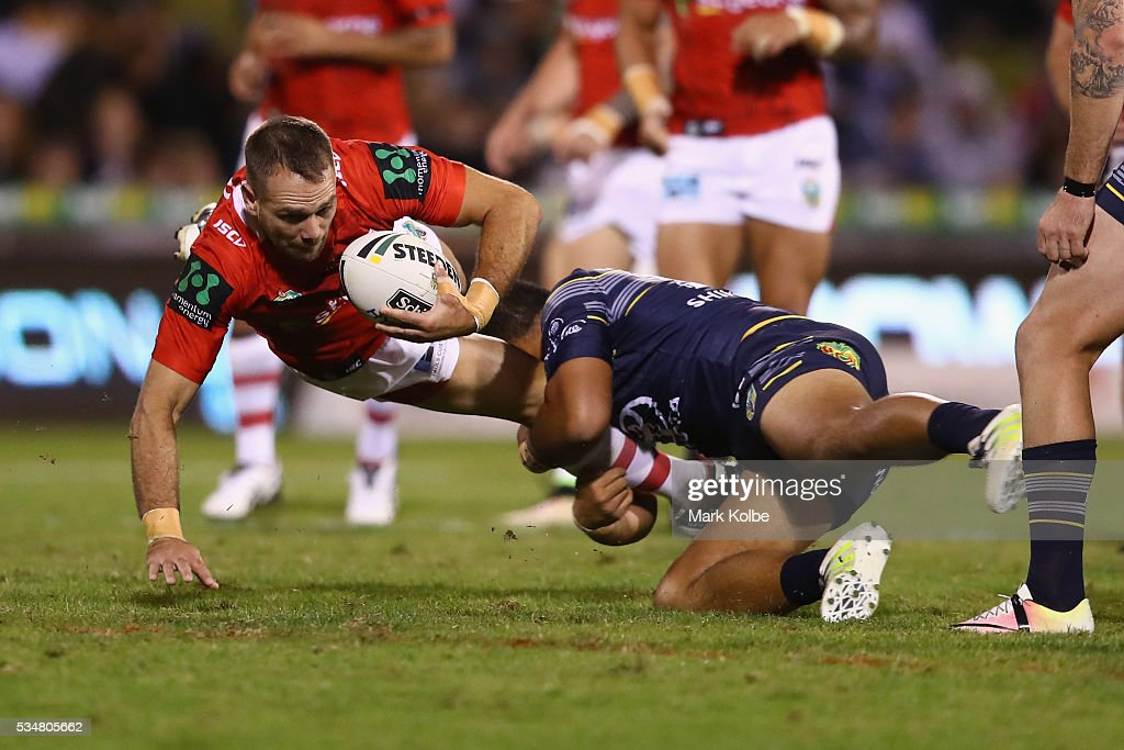 Jason Nightingale of the Dragons is tackled during the round 12 NRL match between the St George Illawarra Dragons and the North Queensland Cowboys at WIN Jubilee Stadium on May 28, 2016 in Wollongong, Australia.