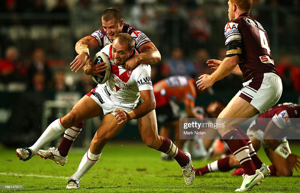 Jason Nightingale of the Dragons is tackled during the round eight NRL match between the St George Illawarra Dragons and the Manly Sea Eagles at WIN Jubilee Stadium on May 6, 2013 in Sydney, Australia.