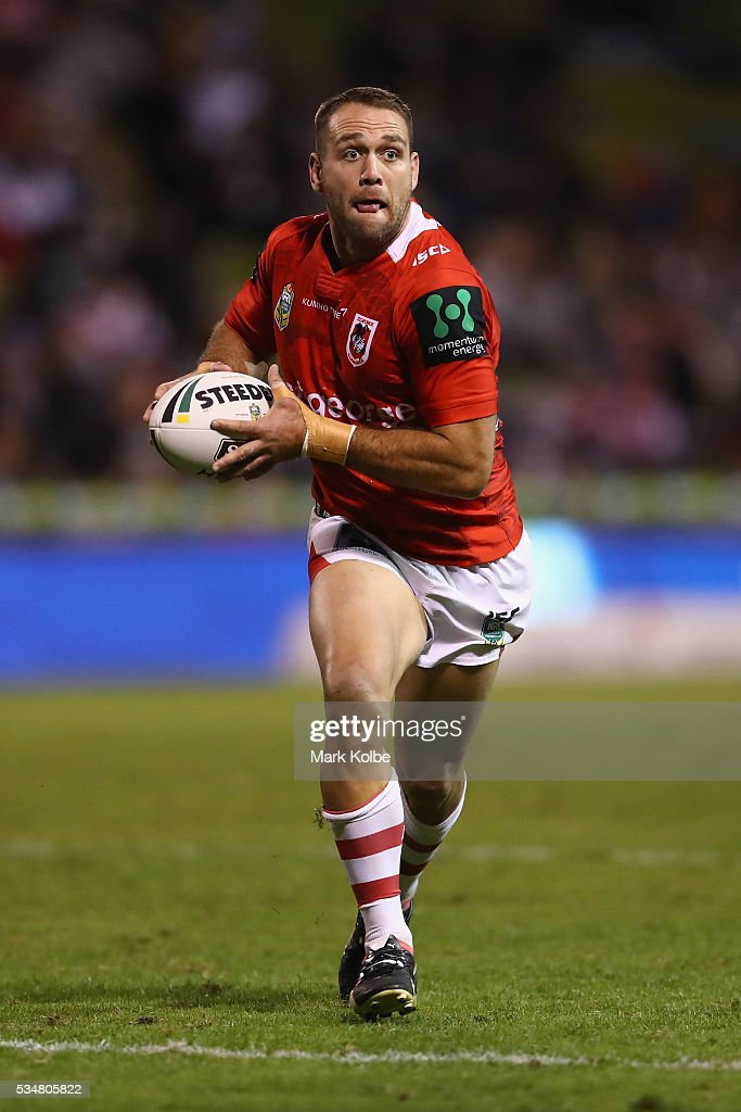Jason Nightingale of the Dragons runs the ball during the round 12 NRL match between the St George Illawarra Dragons and the North Queensland Cowboys at WIN Jubilee Stadium on May 28, 2016 in Wollongong, Australia.