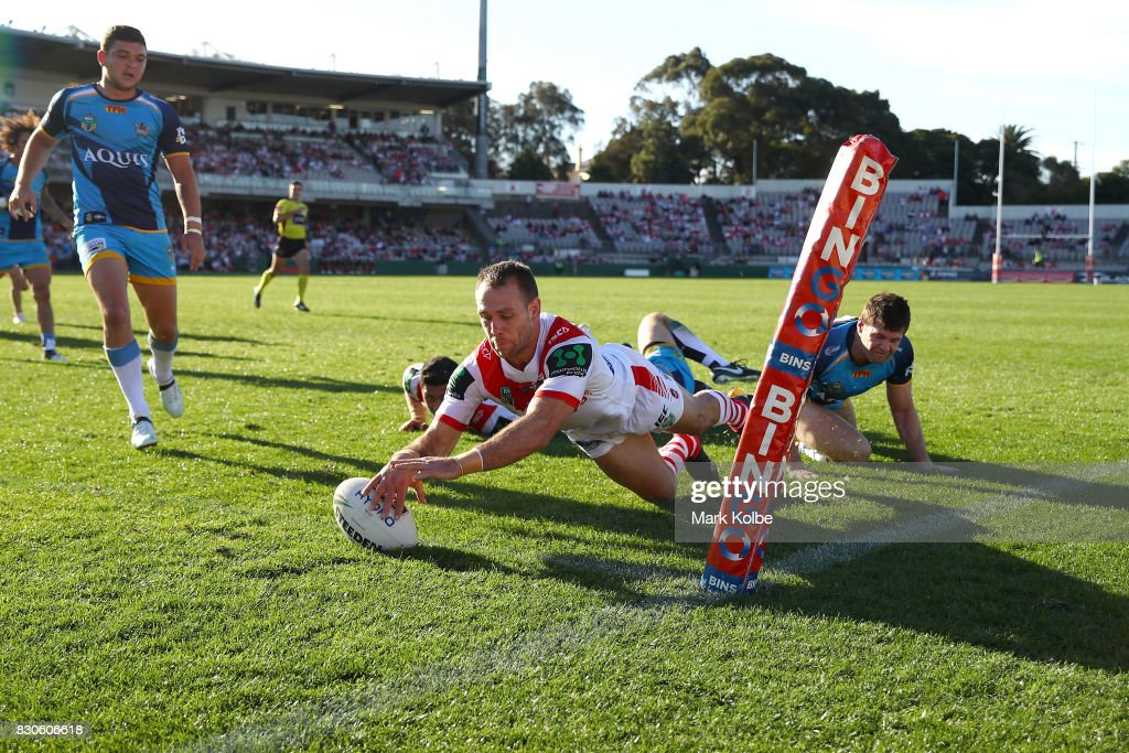 Jason Nightingale of the Dragons scores a try during the round 23 NRL match between the St George Illawarra Dragons and the Gold Coast Titans at UOW Jubilee Oval on August 12, 2017 in Sydney, Australia.