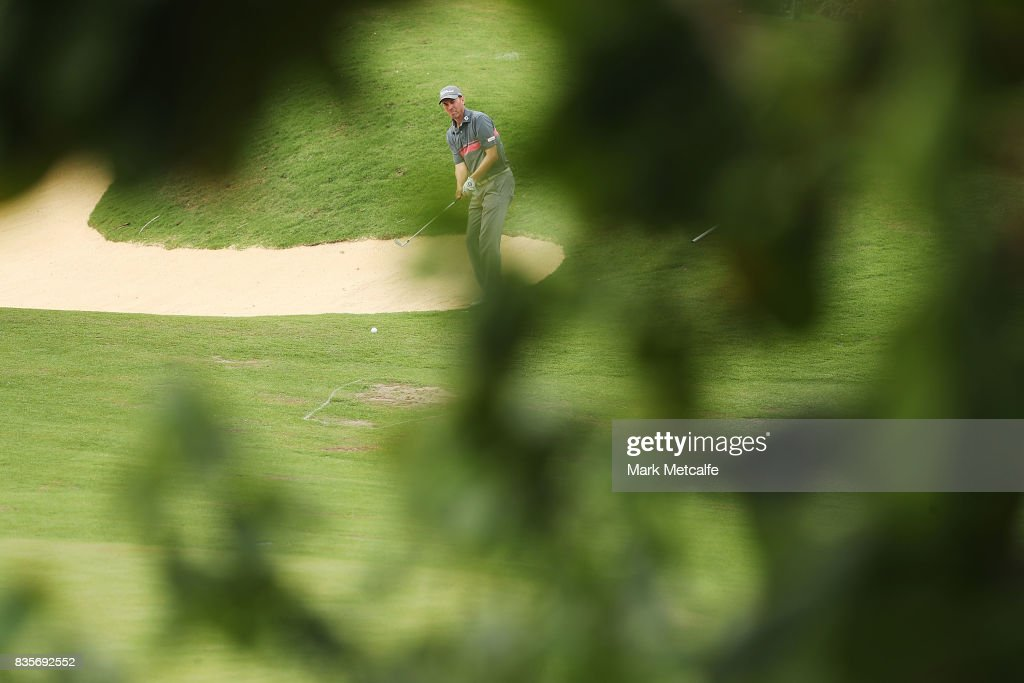 Jason Norris of Australia plays a bunker shot on the 12th hole during day four of the 2017 Fiji International at Natadola Bay Championship Golf Course on August 20, 2017 in Suva, Fiji.