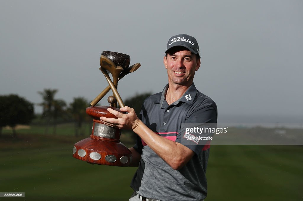 Jason Norris of Australia poses with his trophy after winning on day four of the 2017 Fiji International at Natadola Bay Championship Golf Course on August 20, 2017 in Suva, Fiji.
