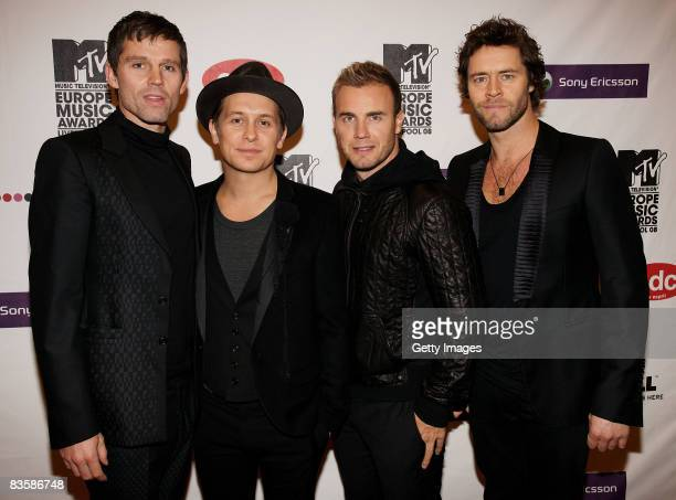 Jason Orange Mark Owen Gary Barlow and Howard Donald of Take That arrive for the MTV Europe Music Awards held at the Echo Arena on November 6 2008 in...
