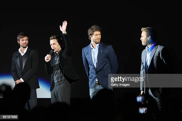 Jason Orange Mark Owen Howard Donald and Gary Barlow of Take That attend a world exclusive special screening of the Circus Live DVD at HMV...