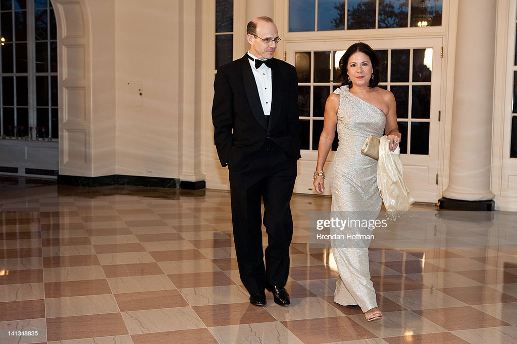 Jason P. DeParle (L) and Nancy Ann Min DeParle, White House Deputy Chief of Staff, arrive for a State Dinner in honor of British Prime Minister David Cameron at the White House on March 14, 2012 in Washington, DC. Cameron is on a three day official visit to Washington.