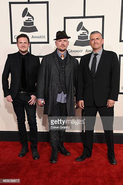 Jason Pebworth George Astasio and Jon Shave of The Invisible Men attend The 57th Annual GRAMMY Awards at the STAPLES Center on February 8 2015 in Los...