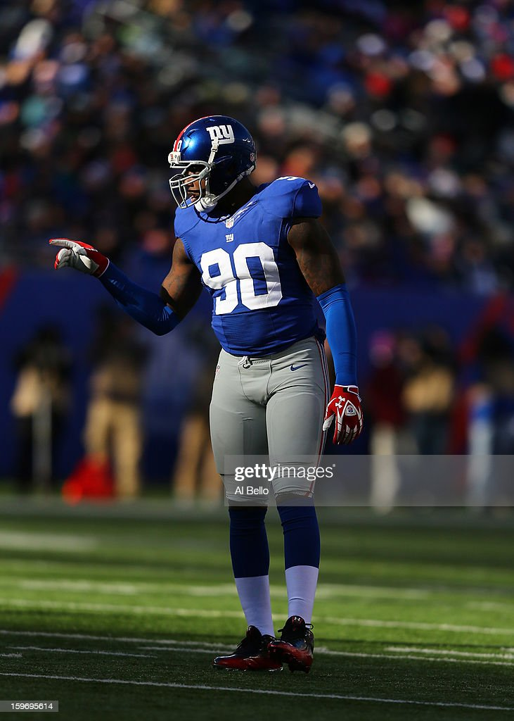 Jason Pierre-Paul #90 of the New York Giants in action during their game against the Philadelphia Eagles at MetLife Stadium on December 30, 2012 in East Rutherford, New Jersey.