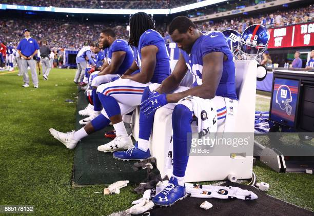 Jason PierrePaul of the New York Giants sits in the final seconds of a 247 loss to the Seattle Seahawks during their game at MetLife Stadium on...