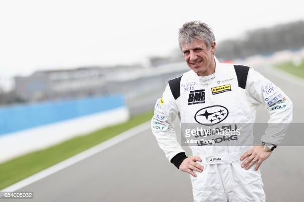 Jason Plato of Adrian Flux Subaru Racing during the British Touring Car Championship Media Day at Donington Park on March 16 2017 in Castle Donington...