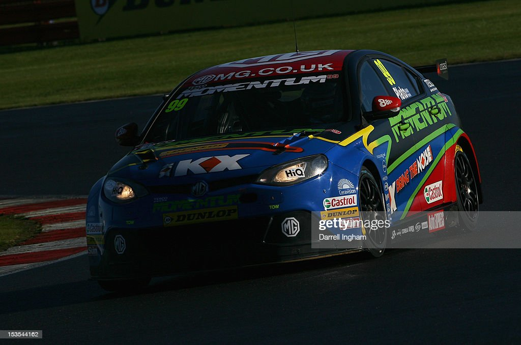 Jason Plato of Great Britain drives the #99 MG KX Momentum Racing MG6 during practice for the Dunlop MSA British Touring Car Championship race at the Silverstone Circuit on October 6, 2012 in Towcester, United Kingdom.