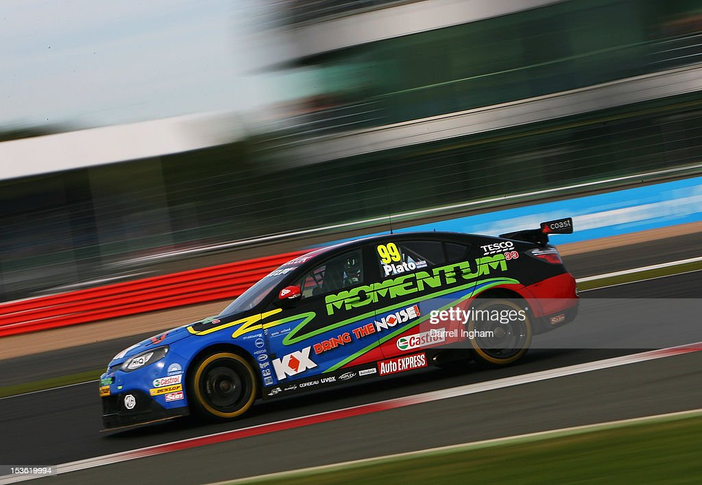 Jason Plato of Great Britain drives the #99 MG KX Momentum Racing MG6 during the Dunlop MSA British Touring Car Championship race at the Silverstone Circuit on October 7, 2012 in Towcester, United Kingdom.