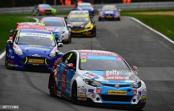 Jason Plato of MG KX Clubcard Fuel Save during Race 2 of the Dunlop MSA British Touring Car Championship at Brands Hatch on October 12 2014 in...