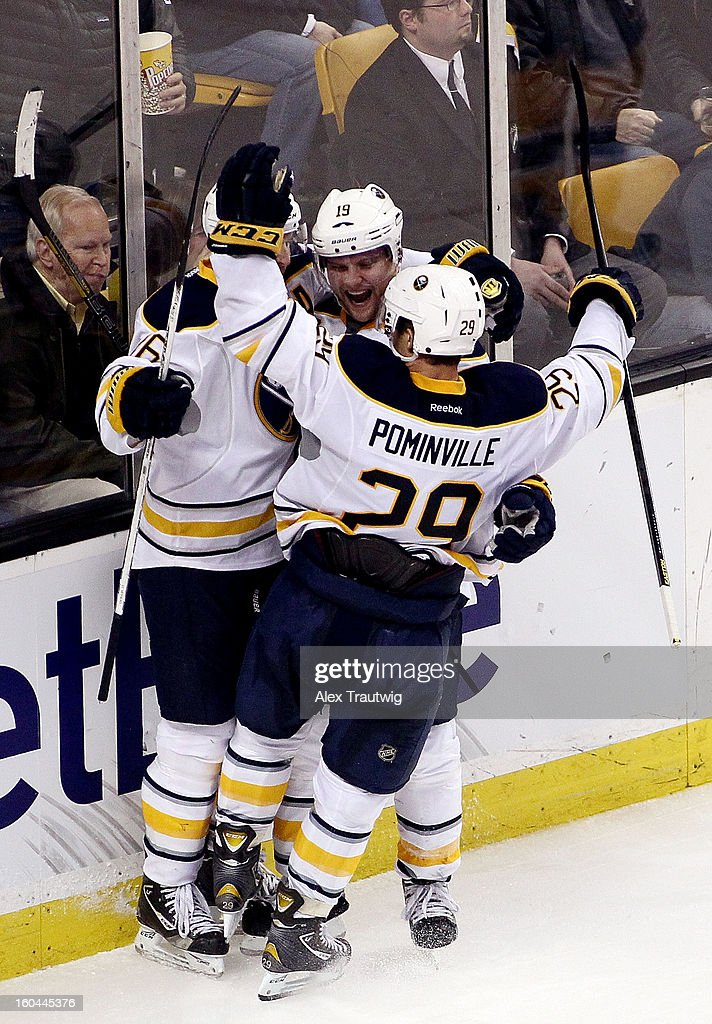 Jason Pominville #29, <a gi-track='captionPersonalityLinkClicked' href=/galleries/search?phrase=Cody+Hodgson&family=editorial&specificpeople=4151192 ng-click='$event.stopPropagation()'>Cody Hodgson</a> #19 and <a gi-track='captionPersonalityLinkClicked' href=/galleries/search?phrase=Thomas+Vanek&family=editorial&specificpeople=570606 ng-click='$event.stopPropagation()'>Thomas Vanek</a> #26 of the Buffalo Sabres celebrate a third period goal against the Boston Bruins during a game at the TD Garden on January 31, 2013 in Boston, Massachusetts. The Sabres defeated the Bruins 7-4.