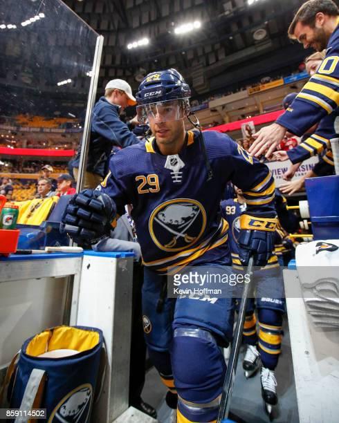 Jason Pominville of the Buffalo Sabres before the game against the Montreal Canadiens at the KeyBank Center on October 5 2017 in Buffalo New York