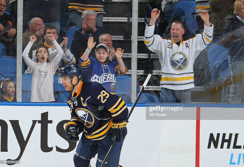<a gi-track='captionPersonalityLinkClicked' href=/galleries/search?phrase=Jason+Pominville&family=editorial&specificpeople=570525 ng-click='$event.stopPropagation()'>Jason Pominville</a> #29 of the Buffalo Sabres celebrates after a goal in the shootout against the New Jersey Devils on March 2, 2013 at the First Niagara Center in Buffalo, New York. Buffalo defeated New Jersey, 4-3.
