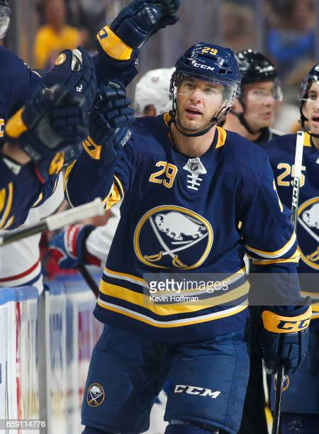 Jason Pominville of the Buffalo Sabres during the game against the Montreal Canadiens at the KeyBank Center on October 5 2017 in Buffalo New York