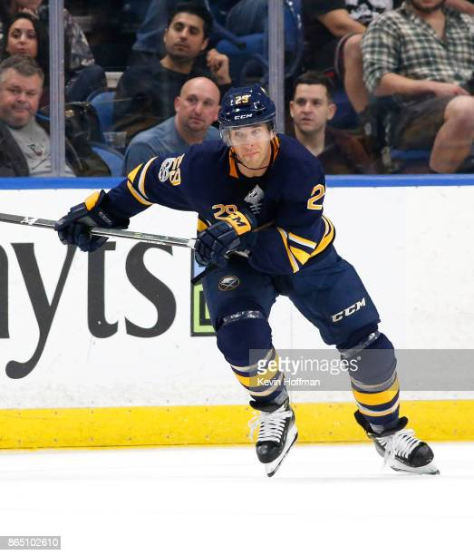 Jason Pominville of the Buffalo Sabres during the game against the Vancouver Canucks at the KeyBank Center on October 20 2017 in Buffalo New York