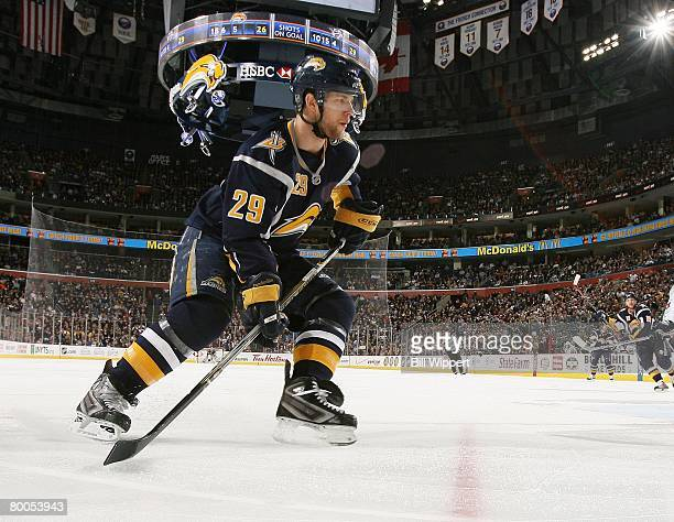 Jason Pominville of the Buffalo Sabres follows the puck against the Nashville Predators on February 27 2008 at HSBC Arena in Buffalo New York