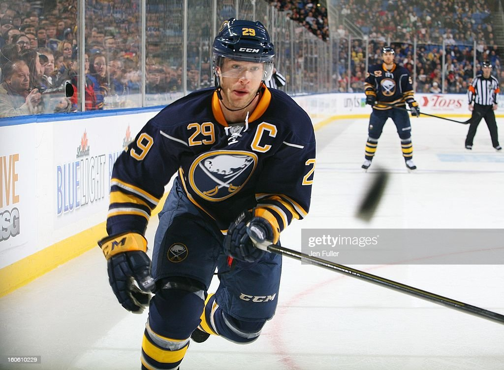 Jason Pominville #29 of the Buffalo Sabres keeps his eye on a flying puck against the Florida Panthers on February 3, 2013 at the First Niagara Center in Buffalo, New York.