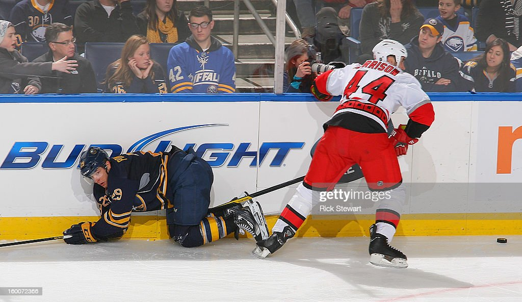 <a gi-track='captionPersonalityLinkClicked' href=/galleries/search?phrase=Jason+Pominville&family=editorial&specificpeople=570525 ng-click='$event.stopPropagation()'>Jason Pominville</a> #29 of the Buffalo Sabres loses the puck to Jay Harrison #44 of the Carolina Hurricanes at First Niagara Center on January 25, 2013 in Buffalo, New York. Carolina won 3-1.