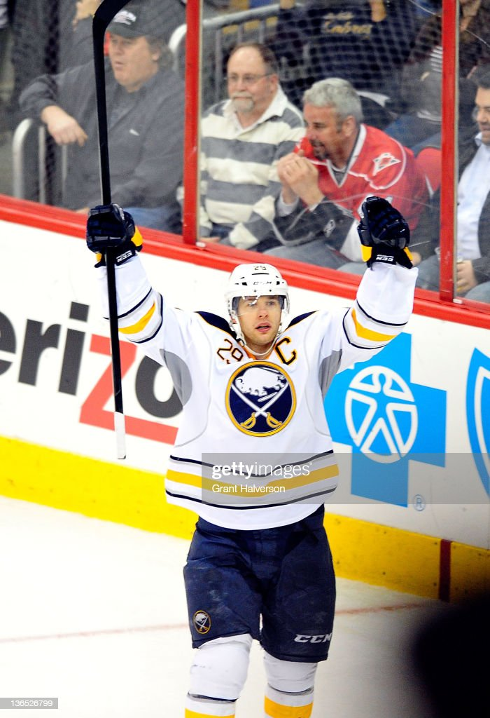 <a gi-track='captionPersonalityLinkClicked' href=/galleries/search?phrase=Jason+Pominville&family=editorial&specificpeople=570525 ng-click='$event.stopPropagation()'>Jason Pominville</a> #29 of the Buffalo Sabres reacts after scoring a goal against the Carolina Hurricanes during the third period at the RBC Center on January 6, 2012 in Raleigh, North Carolina. The Hurricanes won 4-2.