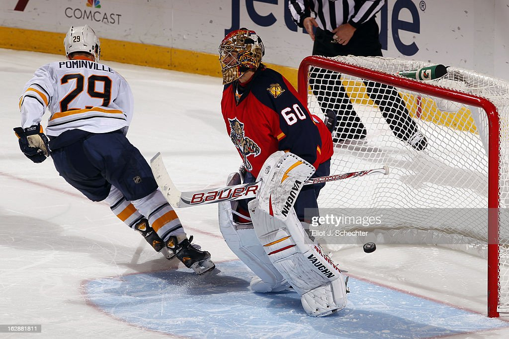 <a gi-track='captionPersonalityLinkClicked' href=/galleries/search?phrase=Jason+Pominville&family=editorial&specificpeople=570525 ng-click='$event.stopPropagation()'>Jason Pominville</a> #29 of the Buffalo Sabres shoots and scores the game winning goal in a shootout against Goaltender <a gi-track='captionPersonalityLinkClicked' href=/galleries/search?phrase=Jose+Theodore&family=editorial&specificpeople=202011 ng-click='$event.stopPropagation()'>Jose Theodore</a> #60 of the Florida Panthers at the BB&T Center on February 28, 2013 in Sunrise, Florida.