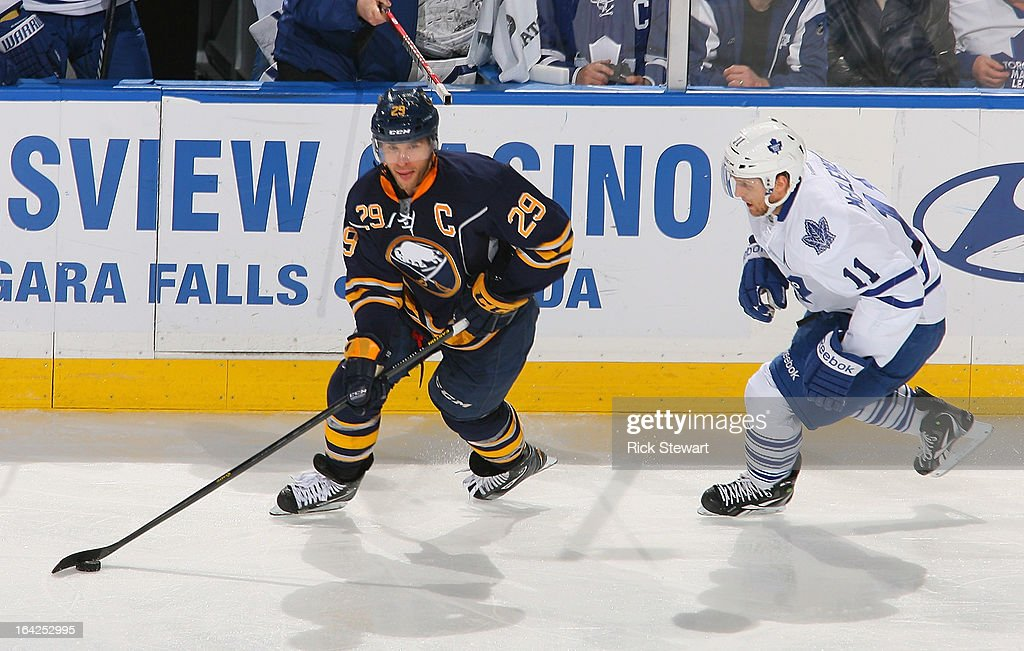 <a gi-track='captionPersonalityLinkClicked' href=/galleries/search?phrase=Jason+Pominville&family=editorial&specificpeople=570525 ng-click='$event.stopPropagation()'>Jason Pominville</a> #29 of the Buffalo Sabres skates against <a gi-track='captionPersonalityLinkClicked' href=/galleries/search?phrase=Jay+McClement&family=editorial&specificpeople=575233 ng-click='$event.stopPropagation()'>Jay McClement</a> #11 of the Toronto Maple Leafs at First Niagara Center on March 21, 2013 in Buffalo, United States.Buffalo won 5-4 in a shootout.