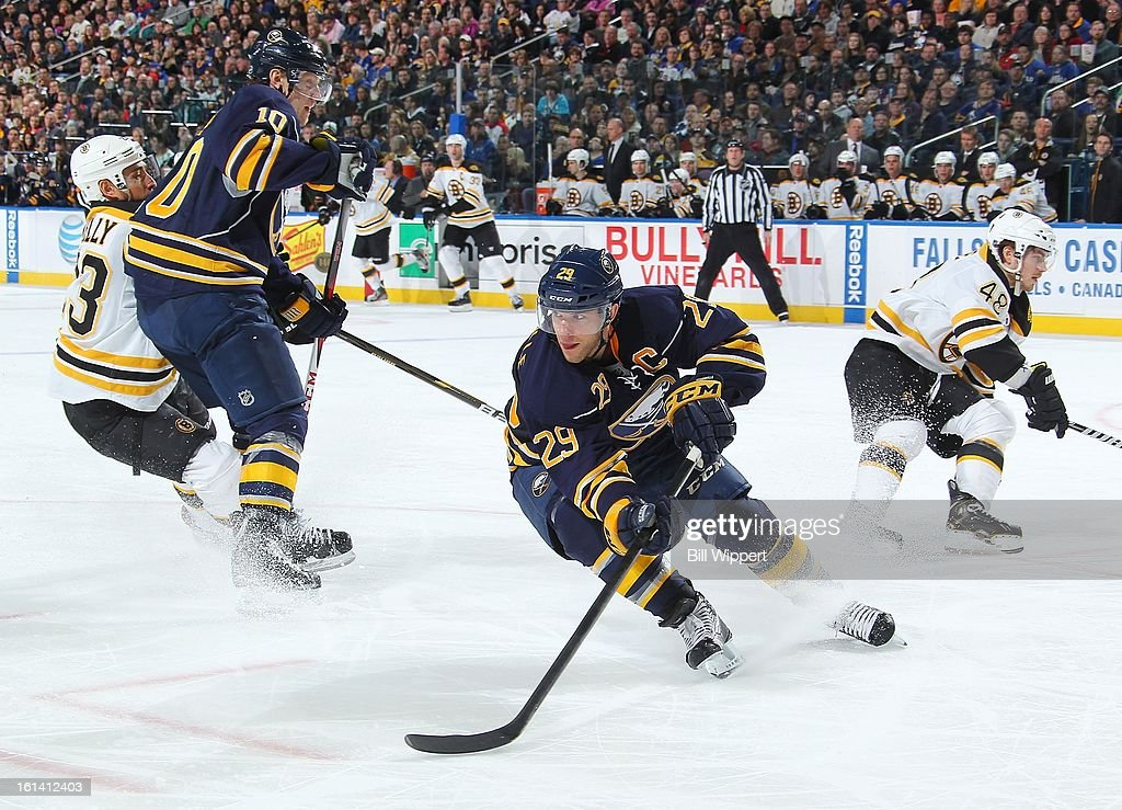 <a gi-track='captionPersonalityLinkClicked' href=/galleries/search?phrase=Jason+Pominville&family=editorial&specificpeople=570525 ng-click='$event.stopPropagation()'>Jason Pominville</a> #29 of the Buffalo Sabres turns with the puck alongside teammate <a gi-track='captionPersonalityLinkClicked' href=/galleries/search?phrase=Christian+Ehrhoff&family=editorial&specificpeople=214788 ng-click='$event.stopPropagation()'>Christian Ehrhoff</a> #10 and Chris Kelly #23 and <a gi-track='captionPersonalityLinkClicked' href=/galleries/search?phrase=Chris+Bourque&family=editorial&specificpeople=716708 ng-click='$event.stopPropagation()'>Chris Bourque</a> #48 of the Boston Bruins on February 10, 2013 at the First Niagara Center in Buffalo, New York.