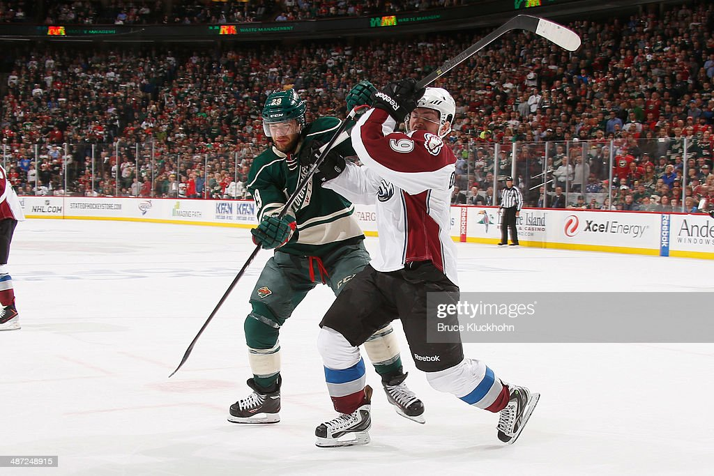 <a gi-track='captionPersonalityLinkClicked' href=/galleries/search?phrase=Jason+Pominville&family=editorial&specificpeople=570525 ng-click='$event.stopPropagation()'>Jason Pominville</a> #29 of the Minnesota Wild and <a gi-track='captionPersonalityLinkClicked' href=/galleries/search?phrase=Matt+Duchene&family=editorial&specificpeople=4819304 ng-click='$event.stopPropagation()'>Matt Duchene</a> #9 of the Colorado Avalanche battle for position during Game Six of the First Round of the 2014 Stanley Cup Playoffs on April 28, 2014 at the Xcel Energy Center in St. Paul, Minnesota.