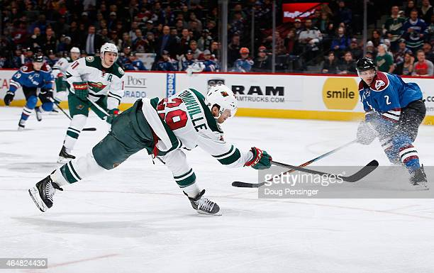 Jason Pominville of the Minnesota Wild scores against the Colorado Avalanche to take a 31 lead in the third period at Pepsi Center on February 28...