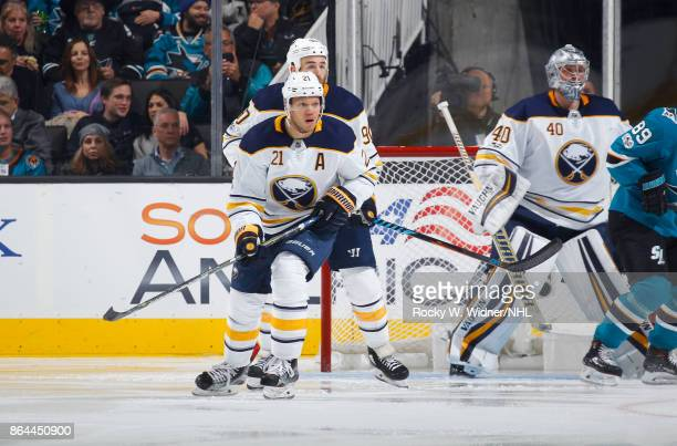 Jason Pominville Ryan O'Reilly and Robin Lehner of the Buffalo Sabres watch the puck during a NHL game against the San Jose Sharks at SAP Center on...