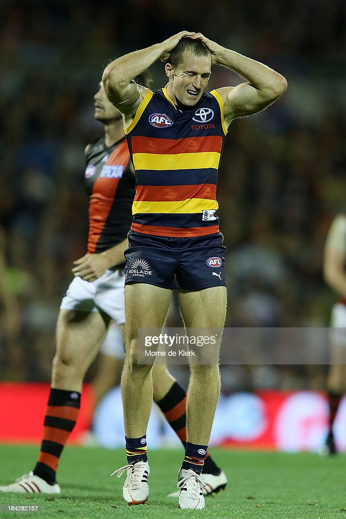 Jason Porplyzia of the Crows reacts after missing a shot at goal during the round one AFL match between the Adelaide Crows and the Essendon Bombers at AAMI Stadium on March 22, 2013 in Adelaide, Australia.