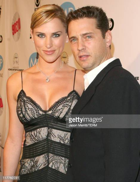 Jason Priestley and wife Naomi Priestley during 'Beverly Hills 90210' and 'Melrose Place' DVD Launch Party Pink Carpet at Beverly Hilton in Beverly...