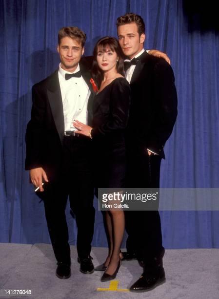 Jason Priestley Shannen Doherty and Luke Perry at the 43rd Annual Primetime Emmy Awards Pasadena Civic Auditorium Pasadena