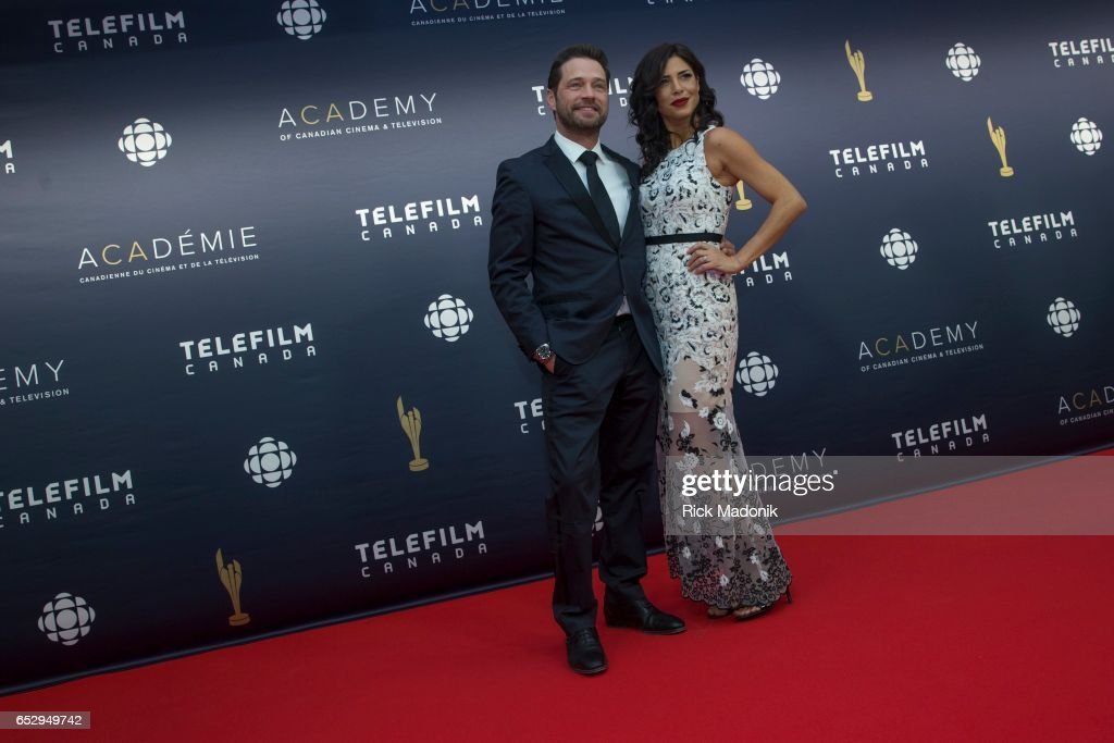 Jason Priestly and Cindy Sampson. Canadian Screen Awards red carpet at Sony Centre for the Performing Arts ahead of the show.
