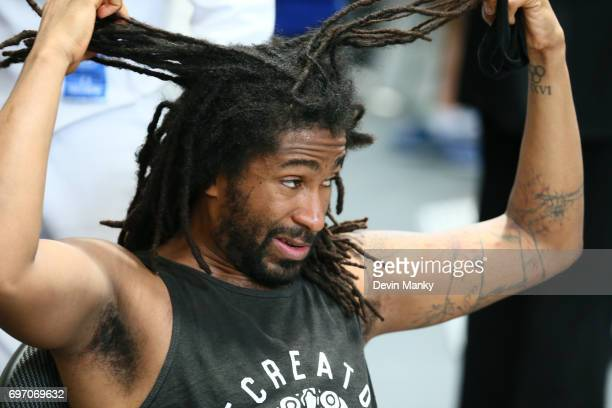 Jason Pryor of the USA grabs at his hair after a team USA loss during the Team Men's Epee event on June 17 2017 at the PanAmerican Fencing...