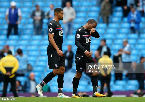 Jason Puncheon and Ruben LoftusCheek of Crystal Palace leave the pitch after the Premier League match between Manchester City and Crystal Palace at...