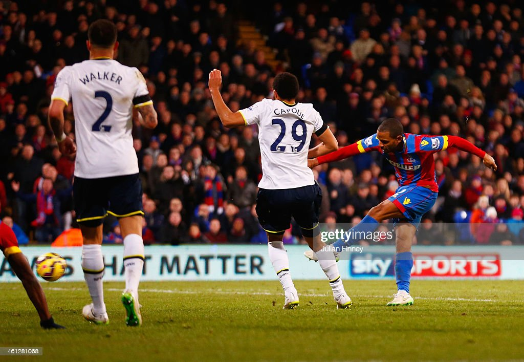 Jason Puncheon of Crystal Palace (R) beats Etienne Capoue of Spurs to score their second goal during the Barclays Premier League match between Crystal Palace and Tottenham Hotspur at Selhurst Park on January 10, 2015 in London, England.