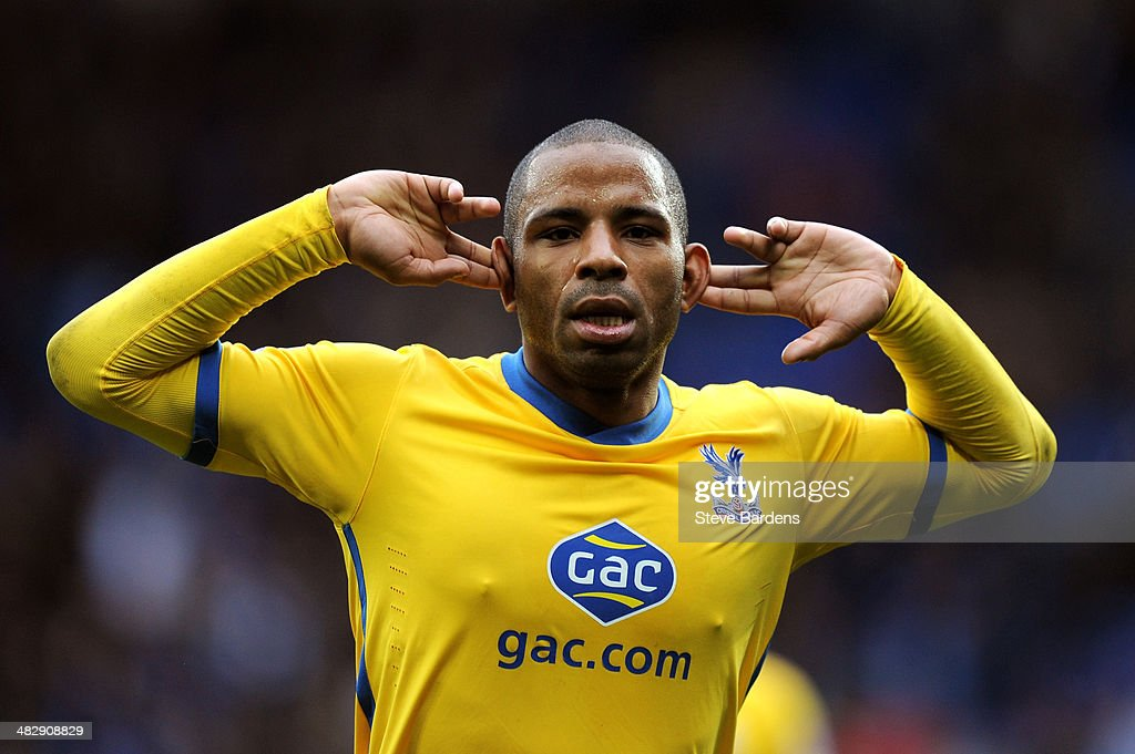 Jason Puncheon of Crystal Palace celebrates after scoring his team's third goal during the Barclays Premier League match between Cardiff City and Crystal Palace at Cardiff City Stadium on April 5, 2014 in Cardiff, Wales.