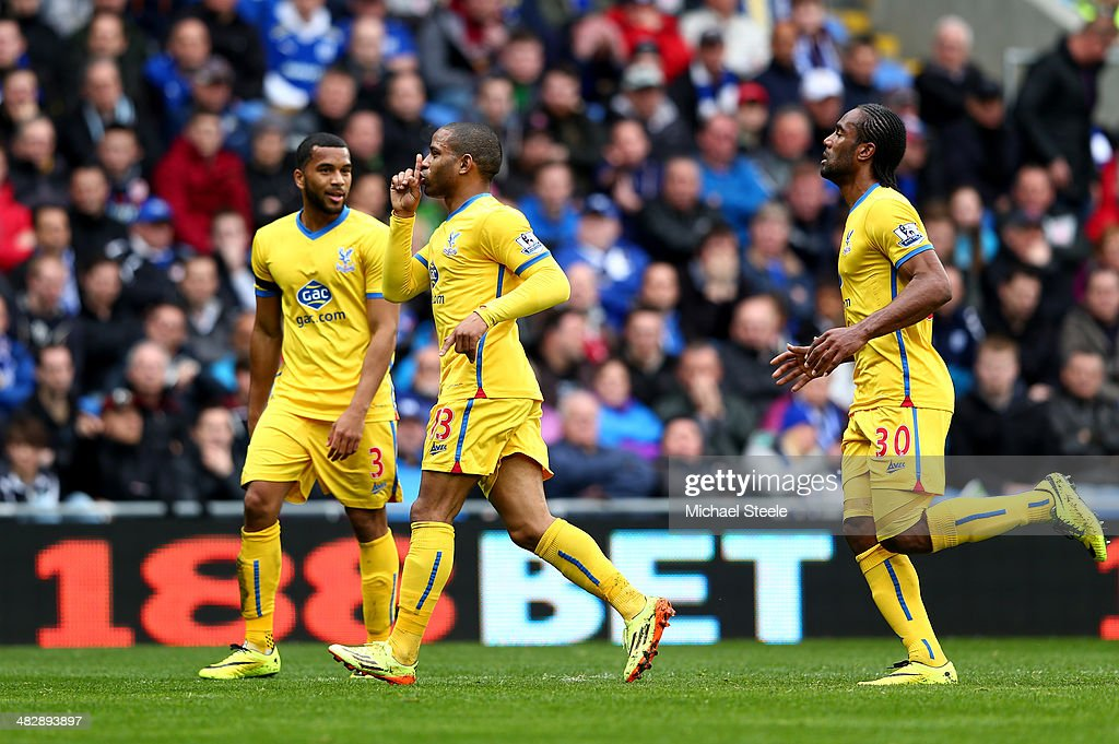 Jason Puncheon (C) of Crystal Palace celebrates after scoring the opening goal during the Barclays Premier League match between Cardiff City and Crystal Palace at Cardiff City Stadium on April 5, 2014 in Cardiff, Wales.
