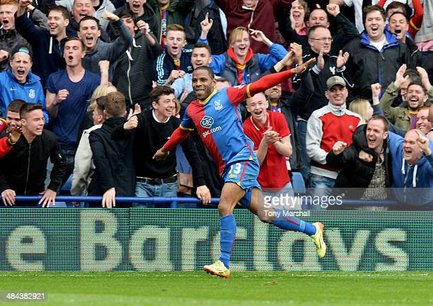 Jason Puncheon of Crystal Palace celebrates as he scores their first goal during the Barclays Premier League match between Crystal Palace and Aston...