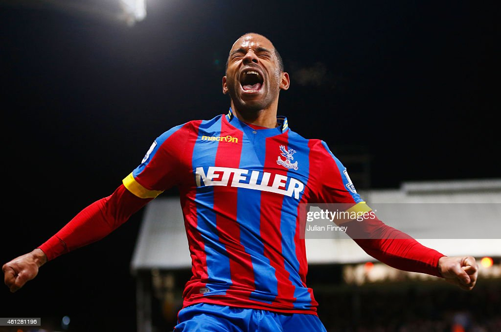 Jason Puncheon of Crystal Palace celebrates as he scores their second goal during the Barclays Premier League match between Crystal Palace and Tottenham Hotspur at Selhurst Park on January 10, 2015 in London, England.