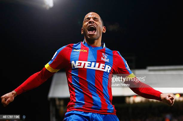 Jason Puncheon of Crystal Palace celebrates as he scores their second goal during the Barclays Premier League match between Crystal Palace and...
